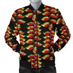 Red Heliconia Black Pattern 3D Printed Unisex Jacket