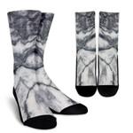 Dark Grey White Marble Print Unisex Crew Socks