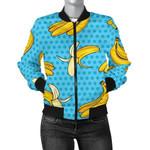 Banana In Blue Dot Pattern 3D Printed Unisex Jacket