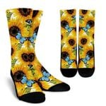 Blue Butterfly Sunflower Pattern Print Unisex Crew Socks