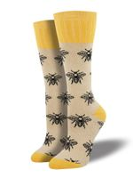 Outlands Bee (Oatmeal) Women's Boot Sock Funny Cute Unique Socks