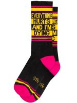 Unisex Everything Hurts and I'm Dying Ribbed Gym Socks Birthday Gift Ideas For Men Women Funny Unique Socks
