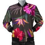 Black Hibiscus Pattern 3D Printed Unisex Jacket