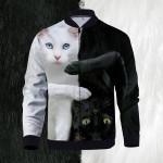 Yin Yang Cats 3D Printed Unisex Bomber Jacket