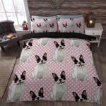 Boston Terrier Happy Feeling White Dots Bedding Set Bedroom Decor