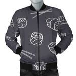 Sushi Pattern Black Background 3D Printed Unisex Jacket