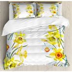 Spring Flowers Yellow and White Bedding Set Bedroom Decor