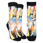 Watercolor Cats Party Printed Crew Socks