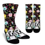 Artsy Beagle With Colorful Paws  Printed Crew Socks