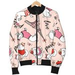 Pink Paris Dog Pattern 3D Printed Unisex Jacket