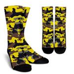 Yellow Brown And Black Camouflage Print Unisex Crew Socks