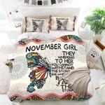 November Girls Birthday Gift Printed Bedding Set Bedroom Decor