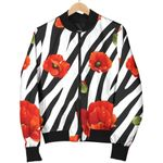 Black White Zebra Flower Pattern  3D Printed Unisex Jacket