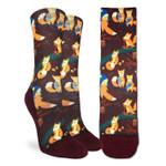 Cute Fox Family Brown Printed Crew Socks