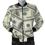 Dollar Pattern Print Design DO02 Men Bomber Jacket