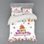Happy Birthday Cake And Decorative Printed Bedding Set Bedroom Decor