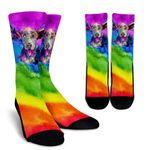 Rainbow Hound  Gift For Dog Lovers Printed Crew Socks