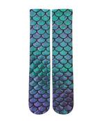 Pink And Blue Mermaid Scale Printed Crew Socks