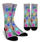 I Heart Daycare Colorful Printed Crew Socks