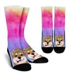 Fun Floral Shiba Inu Printed Crew Socks