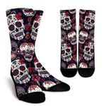 White Red Sugar Skull Pattern Print Unisex Crew Socks
