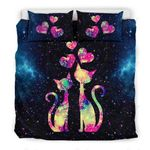Couple Cat Colorful Heart Star Sky Printed Bedding Set Bedroom Decor