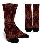 Gold Chinese Dragon Pattern Print Unisex Crew Socks