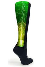 Black OTC Green Lightning Comfortable Cute Funny Unique Unisex Socks