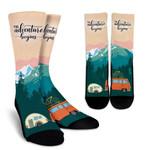 The Adventure Begins Go Camping  Printed Crew Socks