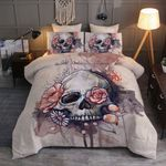 Skull And Flower Printed Bedding Set Bedroom Decor