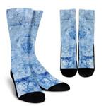Ice Blue Marble Print Unisex Crew Socks