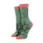 Cherry Blossom Lovely Blue And Pink Printed Crew Socks