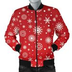 Snowflake Pattern Red Background 3D Printed Unisex Jacket