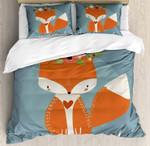 Orange Fox Flower Printed Bedding Set Bedroom Decor