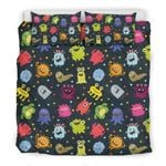 Cute Color Monster Virus Printed Bedding Set Bedroom Decor
