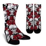 Red Peony Skull Pattern Print Unisex Crew Socks