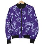 Bright Diamond Purple Pattern 3D Printed Unisex Jacket