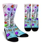 Book Reader I Have Lived A Thousand Lives  Printed Crew Socks