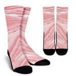 Pink Liquid Marble Print Unisex Crew Socks