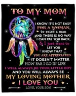 I Know It's Not Easy For A Woman Wolf Gift For Mom Fleece Blanket