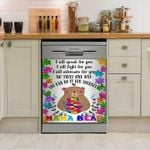 Gift For Mom Mama Bear Autism Pattern Dishwasher Cover Sticker Kitchen Decor