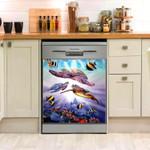 Sea Turtle Surfing Dishwasher Cover Sticker Kitchen Decor