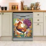 Rooster Colourful Dishwasher Cover Sticker Kitchen Decor
