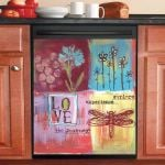 Love Dragonfly Dishwasher Cover Sticker Kitchen Decor