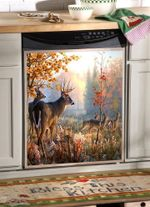 Pack Of Deer And The Autumm Forest Dishwasher Cover Sticker Kitchen Decor