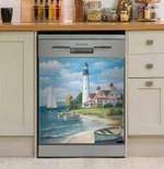 Lighthouse Mural Glass Dishwasher Cover Sticker Kitchen Decor