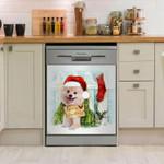 Pomeranian Fence Christmas Dishwasher Cover Sticker Kitchen Decor