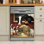 Peaceful Farm Life Animals Wooden Stable Dishwasher Cover Sticker Kitchen Decor