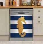 Sea Creatures On Stripes Pattern Dishwasher Cover Sticker Kitchen Decor