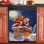 Santa Claus Climbing Chimney Snowy Night Dishwasher Cover Sticker Kitchen Decor